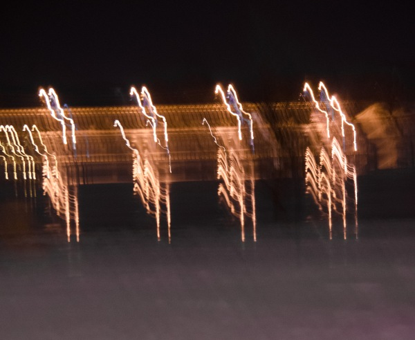 Shoreside lights across the river make for a good light painting. Shot at 1.6 seconds.