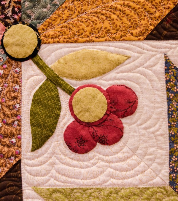 Some quilts have an embroidered look created by bunching up the fabric during stitching,