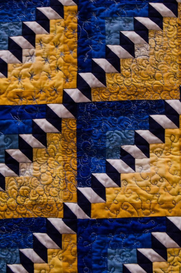 Many quilts use blocks, like these stair blocks.